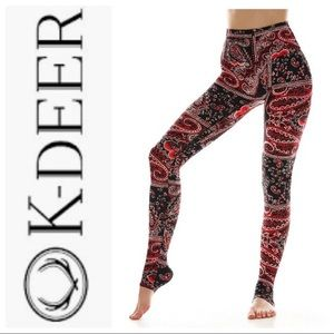 5637d2e285b6c2 ... K Deer paisely full length designer yoga leggings ...